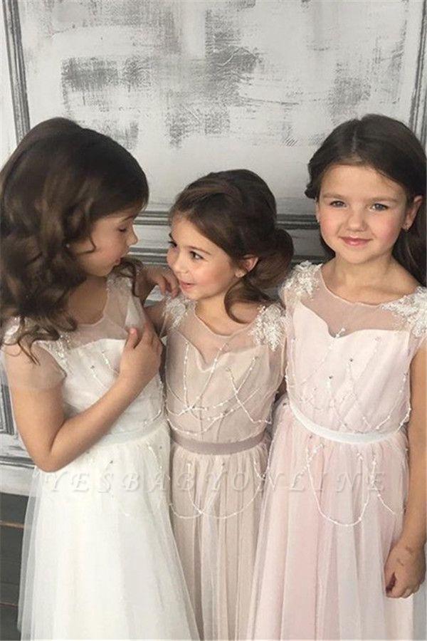 Appliques A-Line Glamorous Beadings Open-Back  Flower-Girl Dresses