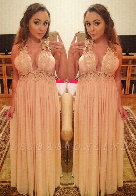 Long Halter Empire A-Line Lace  V-Neck Prom Dresses