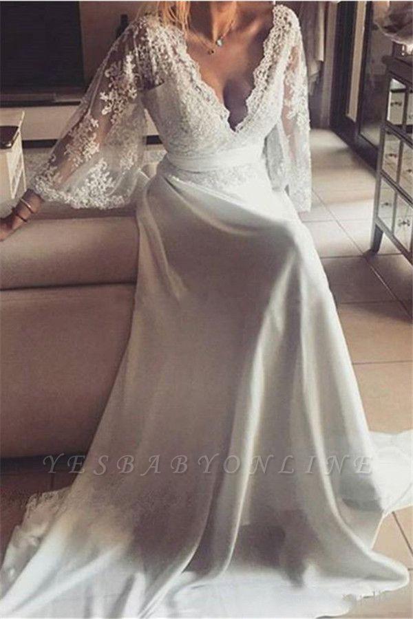 Sexy Lace A-Line Long V-Neck Prom Dresses