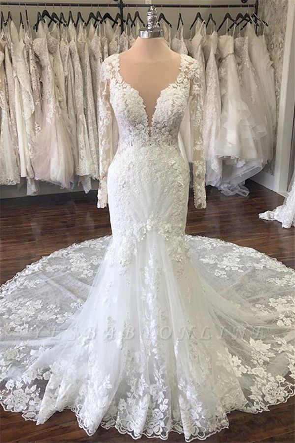 See Through Jewel Neck Long Sleeve Applique Mermaid Wedding Dress | Lace Bridal Gown