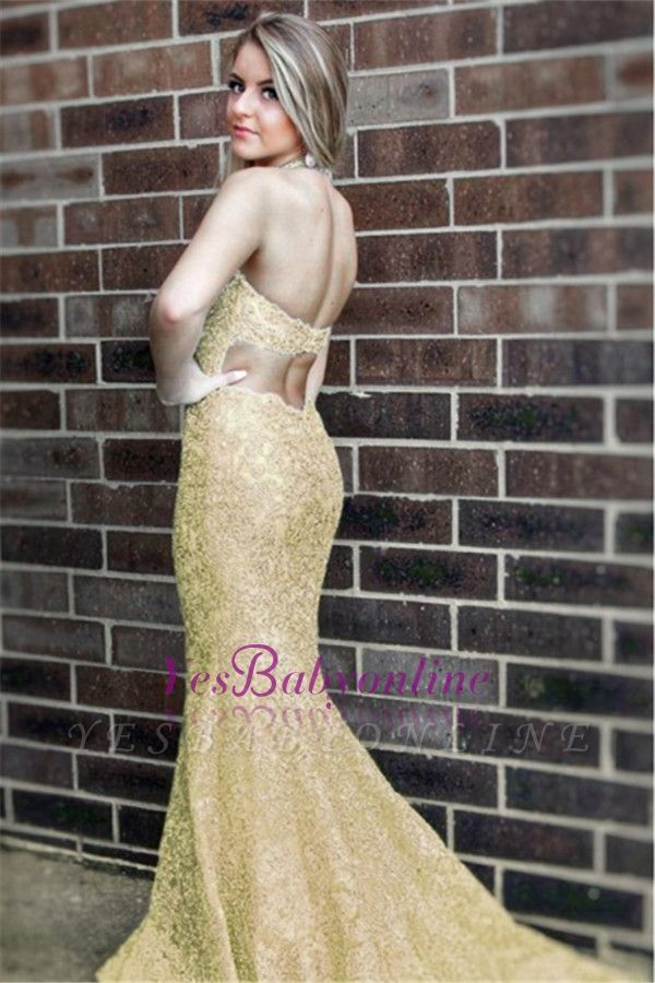 Open-Back Mermaid Halter Lace Sleeveless Simple Evening Dress