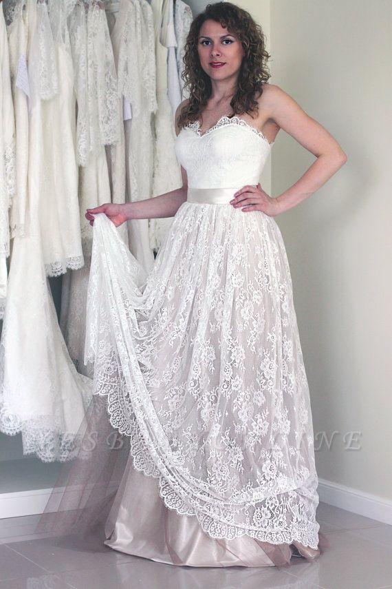 Sweetheart Cheap Sash Sleeveless Simple Long Lace A-line Wedding Dress
