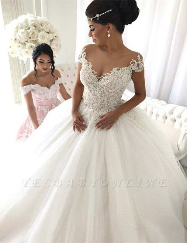 Modest Puffy Lace Wedding Dress | Ivory Off-the-shoulder Bridal Dress