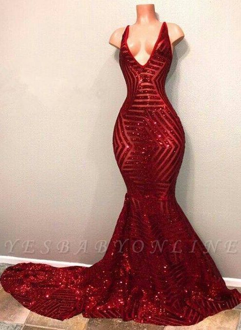 V-Neck Mermaid Shiny Red Long Sequins Prom Dresses