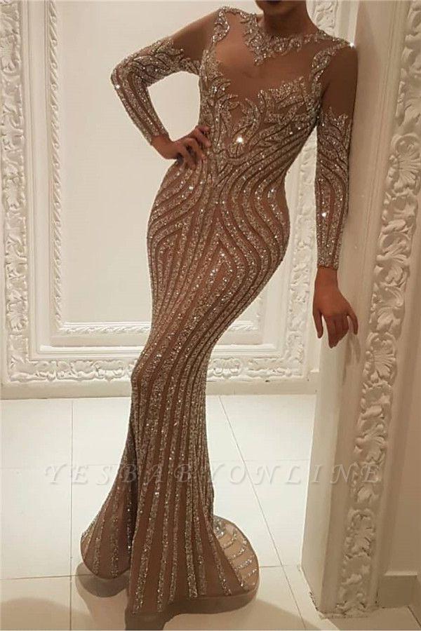 High Neck Long Sleeve Applique Sequined Floor Length Sheath Prom Dresses | Alluring Evening Dresses