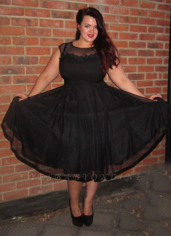 Black Cap-Sleeve Jewel Newest Plus-Size Tea-Length Prom Dress