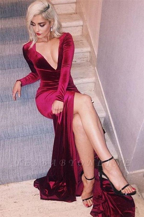 Deep-V-Neck Long-Sleeves Side-Slit Velvet Sexy Prom Dress