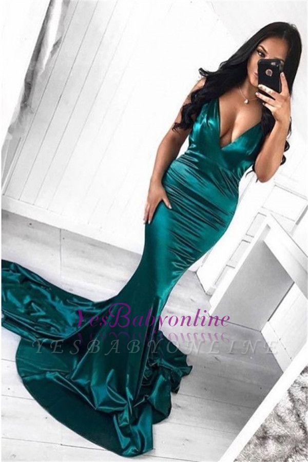 Sweep Sleeveless Mermaid Sexy Deep Train V-Neck Green Evening Dress