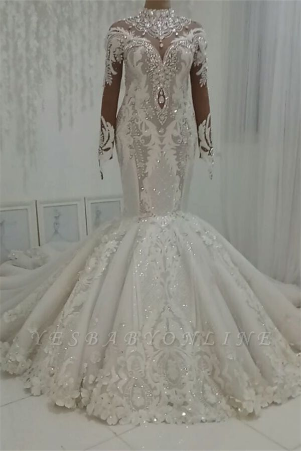 High Neck Crystal Wedding Dresses   Mermaid Bridal Gowns with Long Sleeves