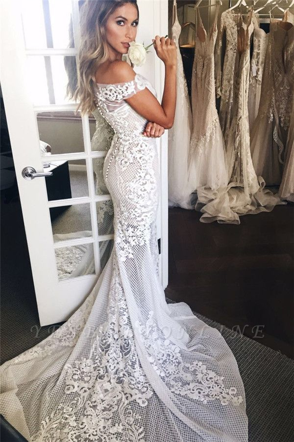 Lace Appliques Sexy Mermaid Buttons Wedding Dress | Off The Shoulder Tulle Bridal Dress