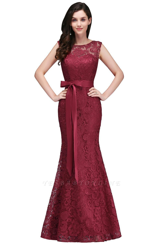 Lace Sleeveless Mermaid Bowknot-Sash Floor-Length Burgundy Prom Dresses