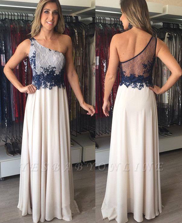 Applique Elegant Sleeveless Floor-Length  One-Shoulder Prom Dresses