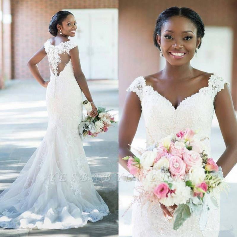 Sleeveless Tulle Long-Train Glamorous Lace Sexy Column V-neck Wedding Dress