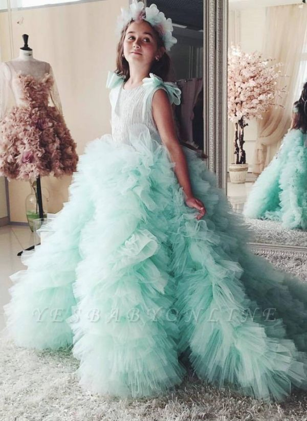 Beautiful Mint Green Ruffles Flower Girls Dresses | Puffy First Communion Dresses with Bow