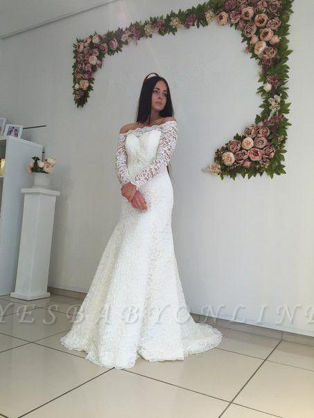 Mermaid Off-the-shoulder Stylish Lace Sweep Train Long Sleeves Wedding Dress