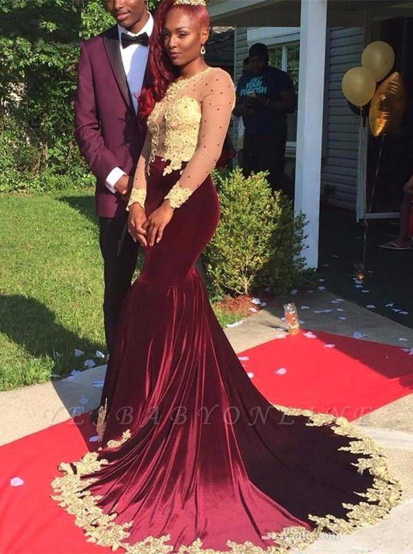 Burgundy Velvet Appliques Long-Sleeve Gorgeous Prom Dress