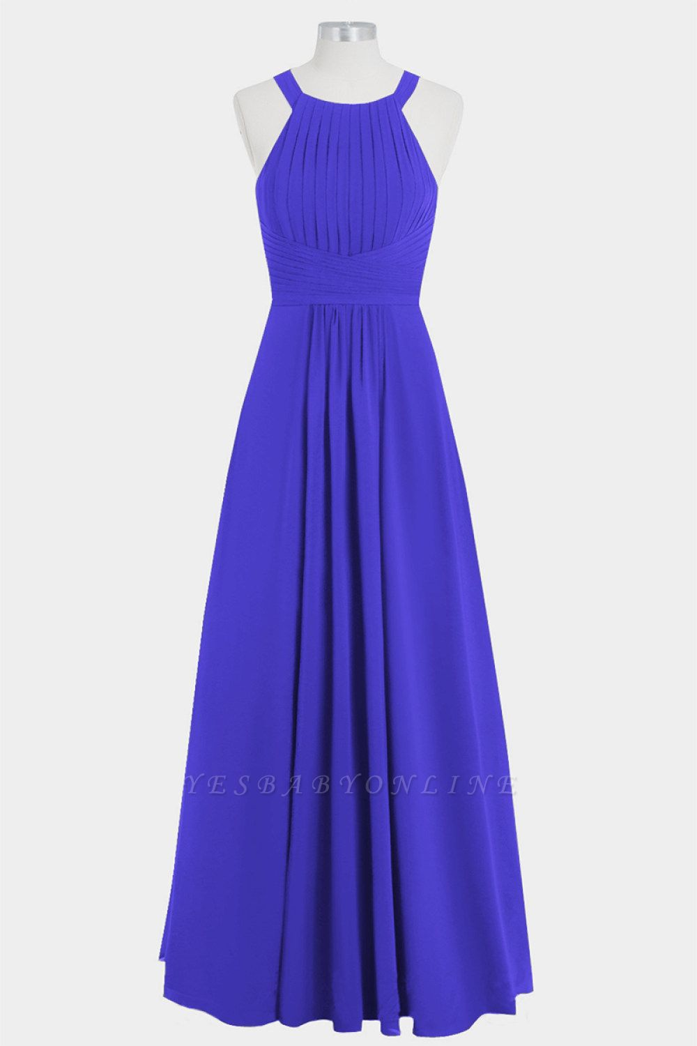 A Line Chiffon Round Neck Hollow out Floor Length Bridesmaid Dresses with Ruffles