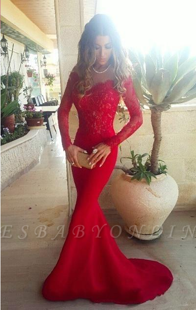 the Lace Evening Long Sleeves Shoulder Red Gowns Mermaid Long Off 2019 Sexy Prom Dresses