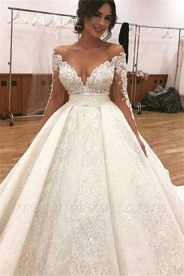 Glamorous Long Sleevess Wedding Dresses | Lace Ball Gown Bridal Gowns