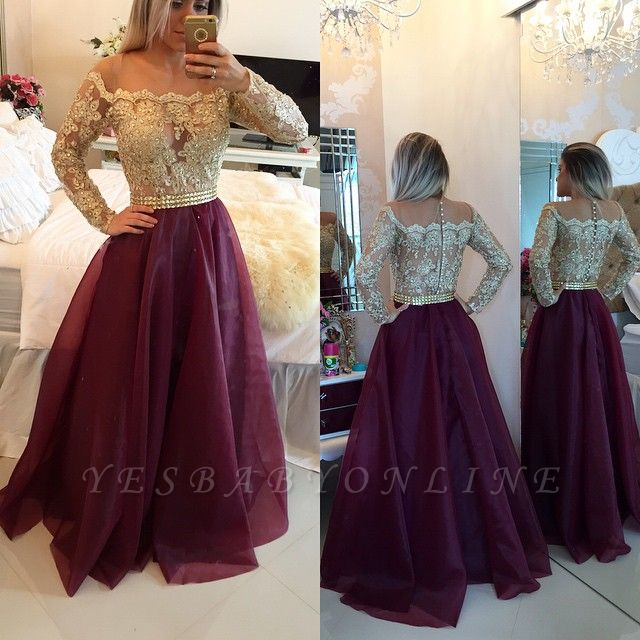 2019 Burgundy and Gold Long Sleeves Lace-Appliques A-line Prom Dresses