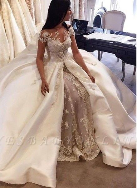 Charming Ball Gown Wedding Dresses | Short Sleeves Appliques Bridal Gowns  with Overskirt
