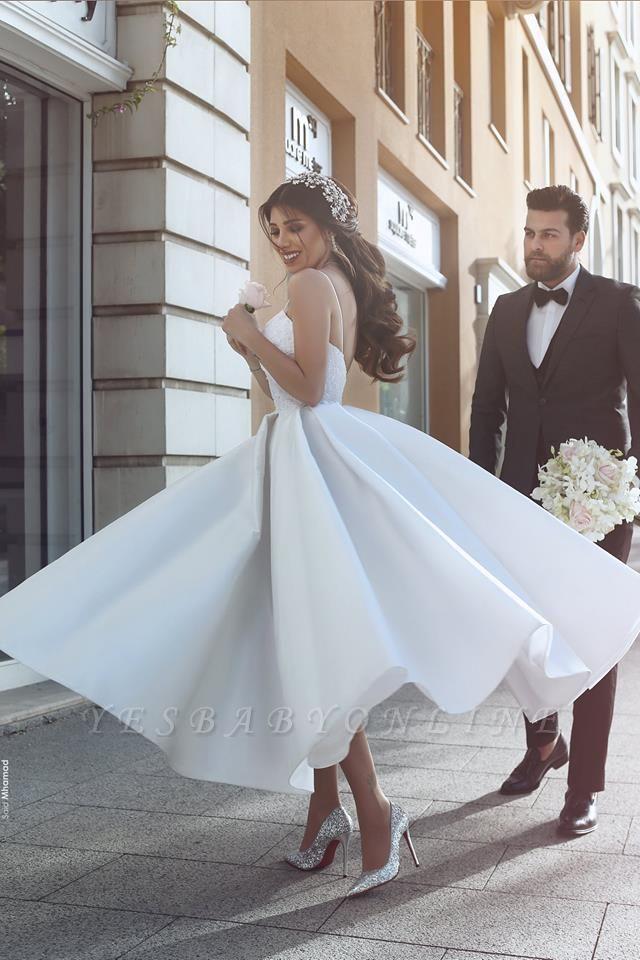 Sexy Spaghetti Strap Tea Length V-neck Wedding Dress