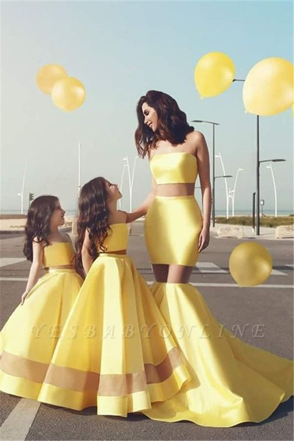Yellow Mother& Daughter Dresses | Strapless Sheer Mermaid Formal Dresses
