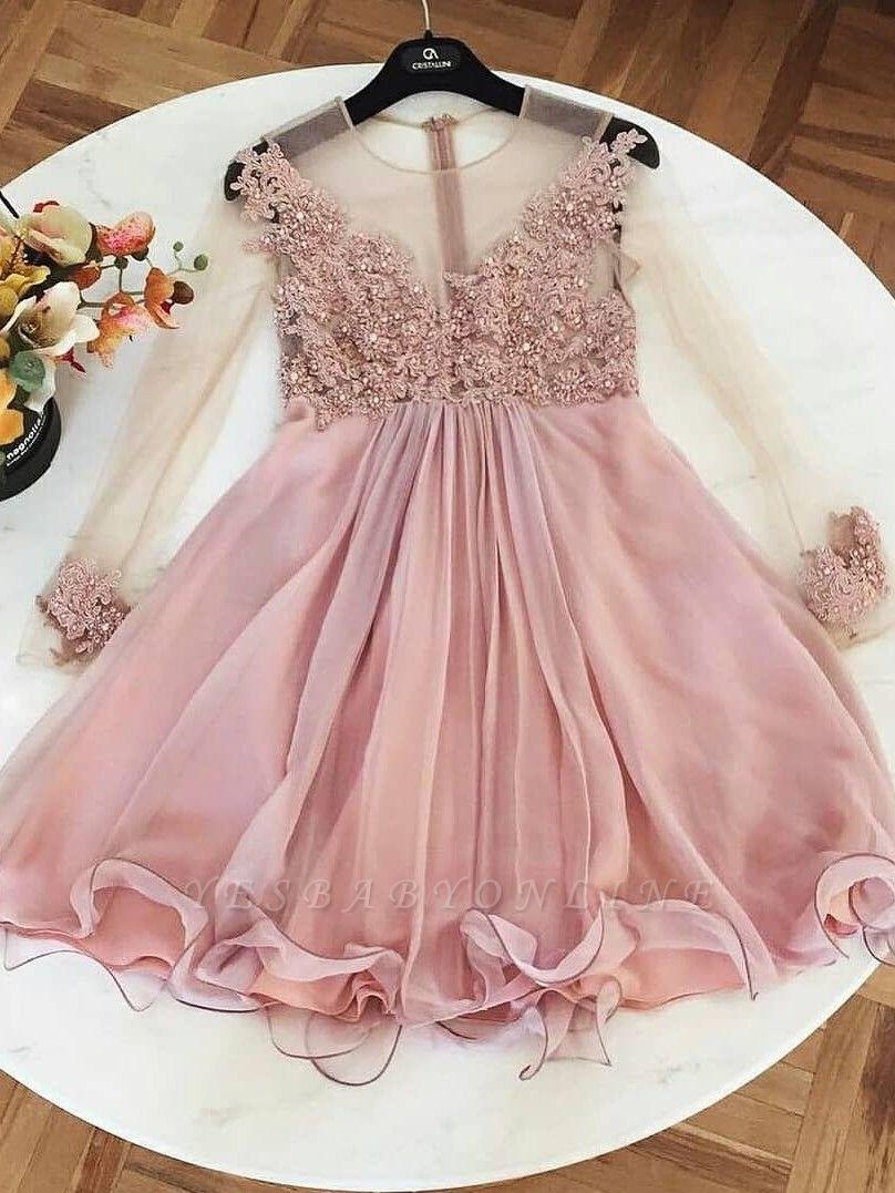 A-Line Long Sleeves Cocktail Dresses | Jewel Lace Appliques Short Party Dresses