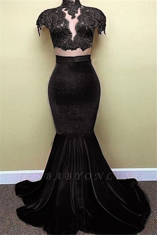 2019 Red Mermaid Prom Dresses High Neck Lace Capped Sleeves Velvet Amazing Evening Gowns