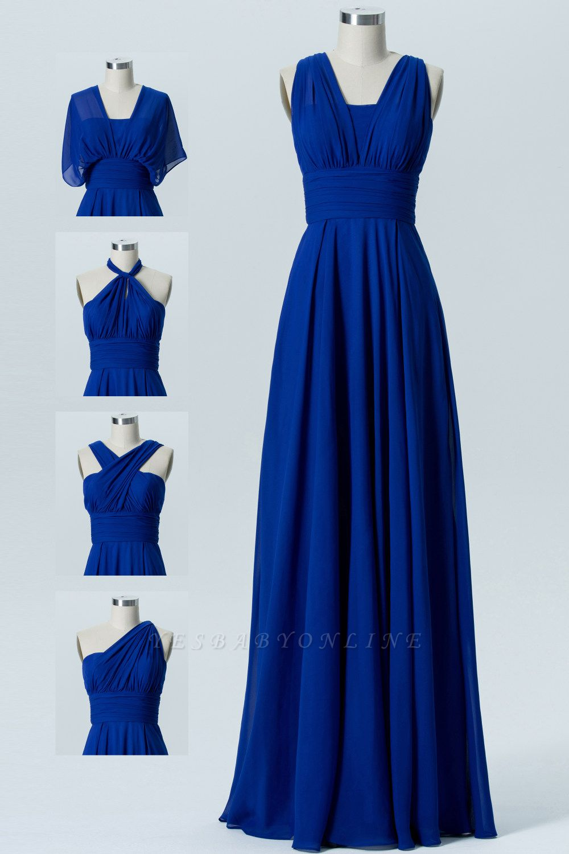 A Line Chiffon Multi Styles Floor Length Bridesmaid Dresses with Ruffles