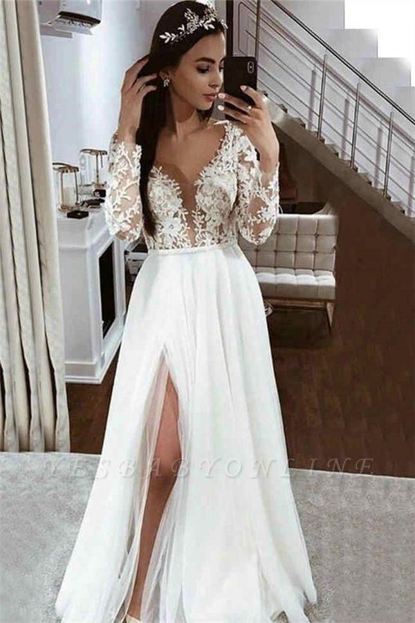 V Neck Long Sleeve Applique Lace Side Slit A Line Wedding Dresses