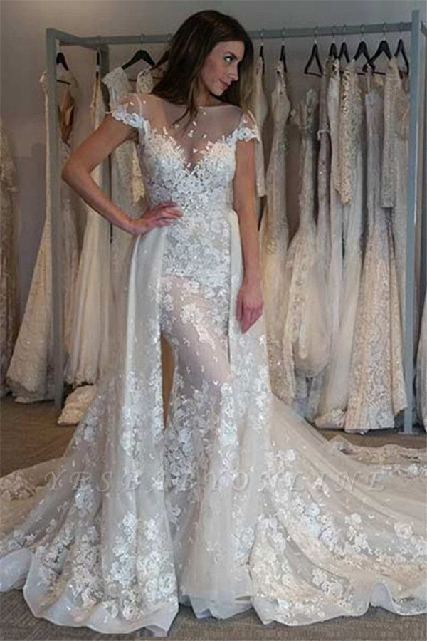 Graceful Jewel Cap Sleeve Apploque Sheath Detachable Skirt Wedding Dresses