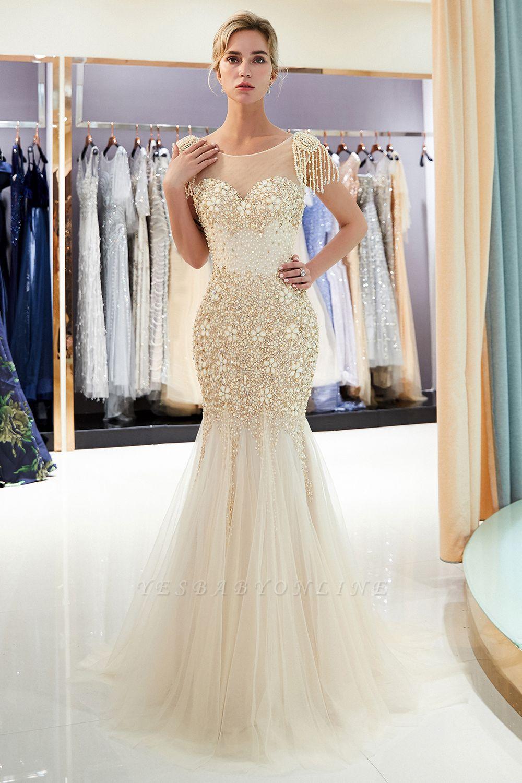 Mermaid Crew Neck Beaded Prom Dress With Tassels | Evening Dress 2019