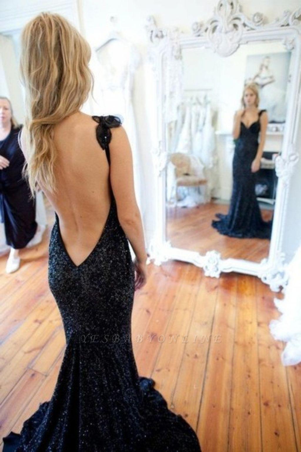 Sleeveless Black Modern Sequined Straps Sexy Mermaid Prom Dress