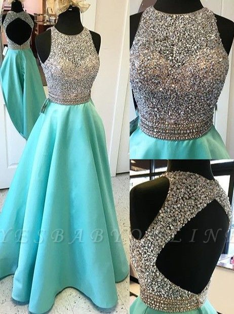 Elegant A-line Prom Dresses Beading Open Back Long Evening Gowns