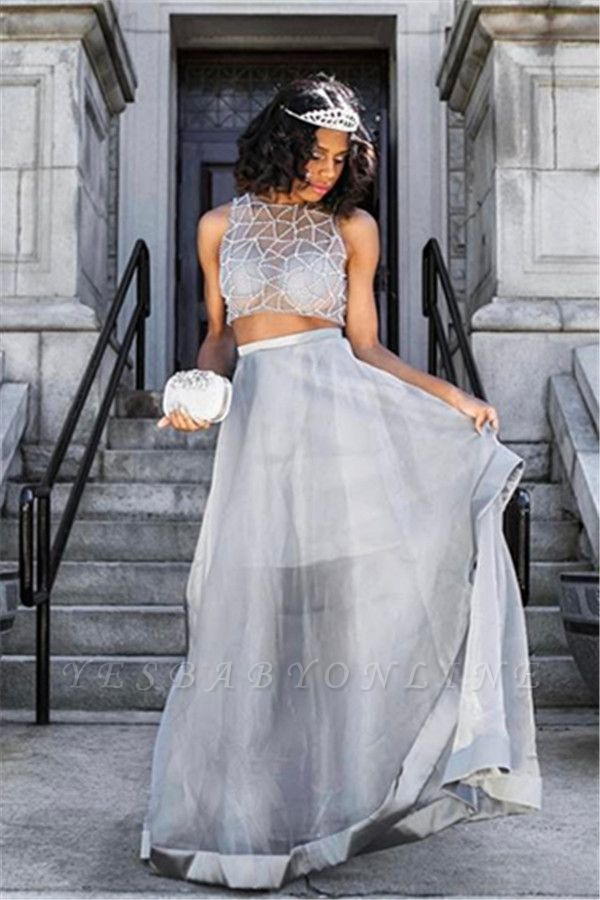 A-line Two-Piece Sleeveless Silver Prom Dress
