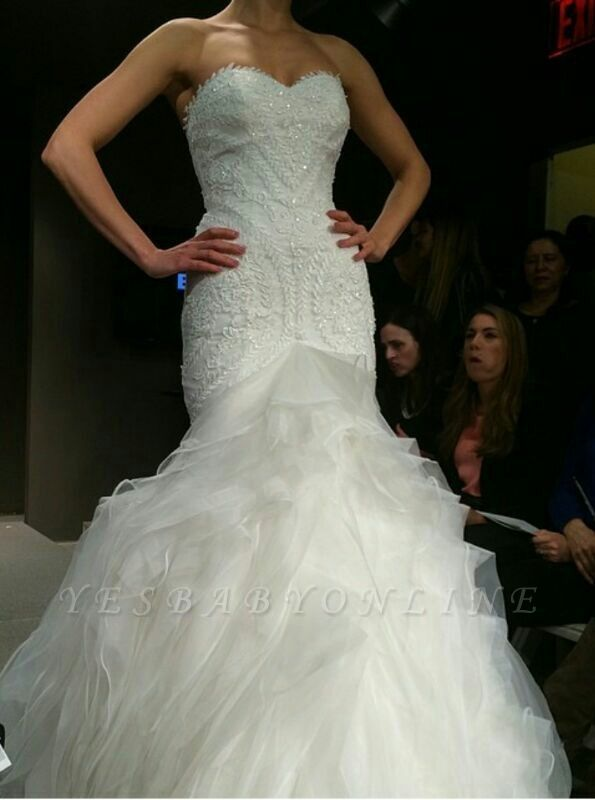 New Wedding Gowns Stunning Crystals Beadss Sweetheart Sleeves Sexy Mermaid Organza Sweep Train Bridal Dresses