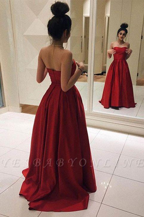 Elegant Sleeveless Red Floor-length A-line Strapless Prom Dress
