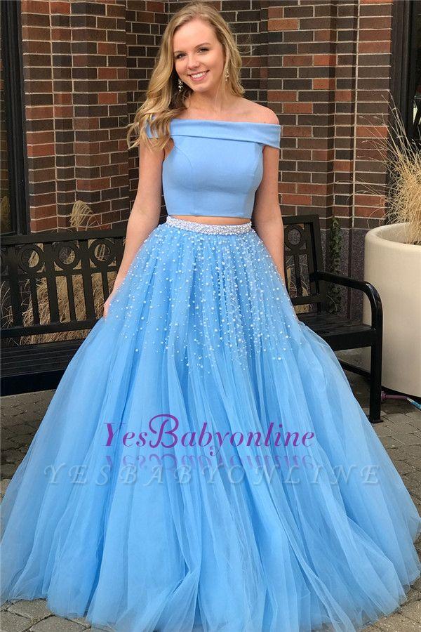 Beads Blue Elegant Popular Two-Piece Off-The-Shoulder Evening Dresses