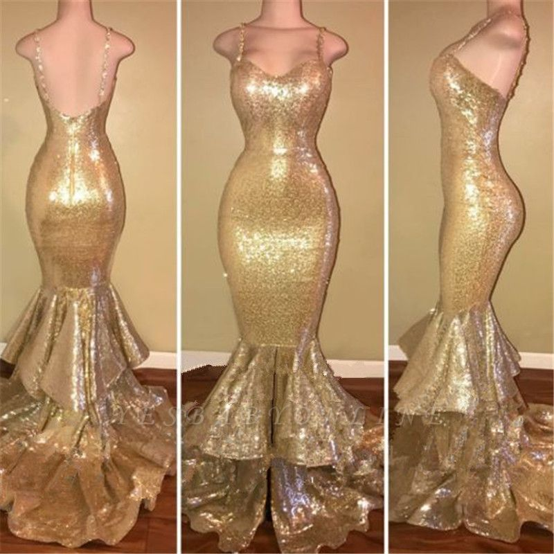 Shiny Gold Spaghettis-Straps Layers-Train Mermaid Sequins Prom Dresses