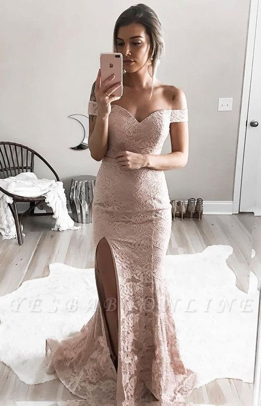 Sexy Lace Mermaid Prom Dresses Off-the-Shoulder Side Slit Evening Gowns