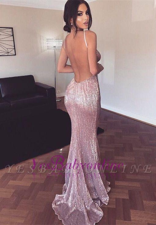 Straps Mermaid Pink Deep-V-neck Shiny Backless Sexy Evening Dress