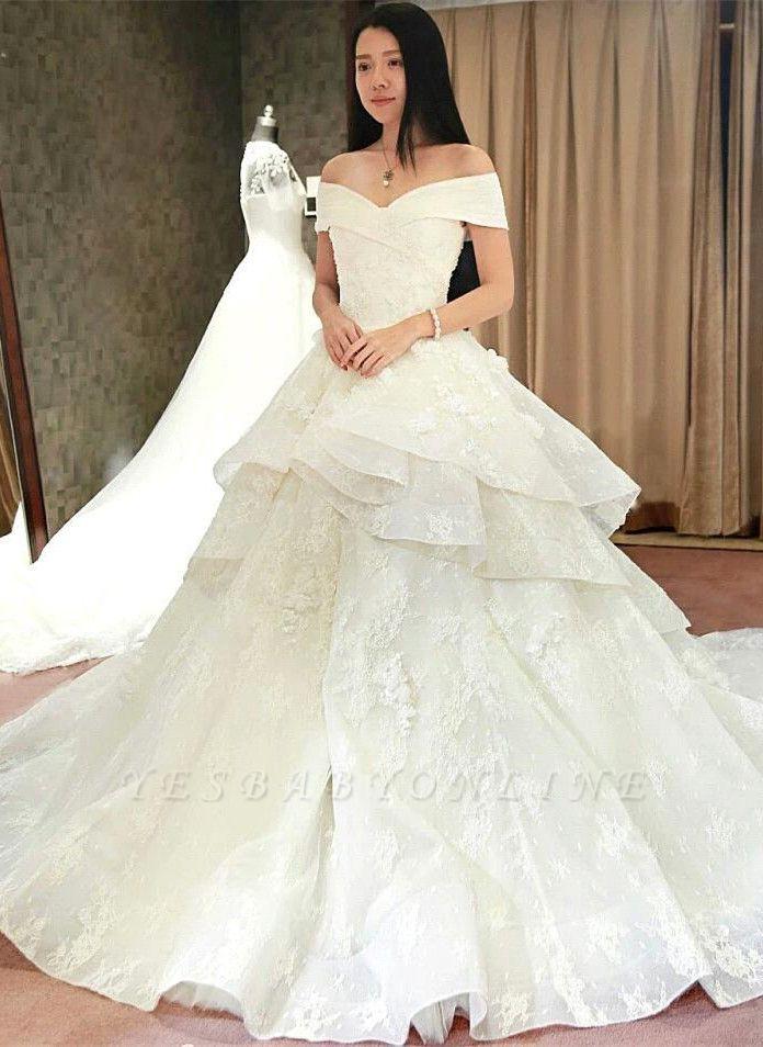 Princess Off-the-Shoulder Floor-Length Ruffles Glamorous Lace Wedding Dress