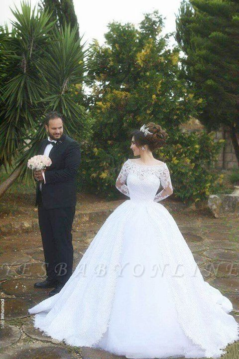 Arabic Ball-Gown White Long Sleevess Lace Tulle Wedding Dress