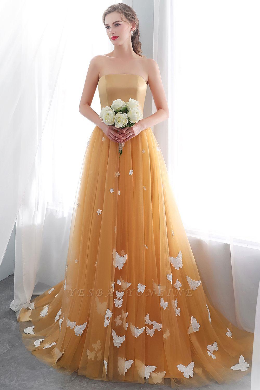 Fashion Sheath Gold Long Floor-Length Sash Evening Dresses