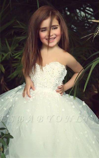 Sweet White Sweetheart Lace Flower Girl Dress   A-Line Tulle Long Sleeveless Dresses for Girls BA5056