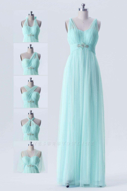 A Line Chiffon Multi Styles Floor Length Bridesmaid Dresses with Beading