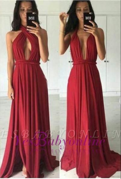 Charming Red Convertible Prom Dresses Side Slit Simple Evening Gowns