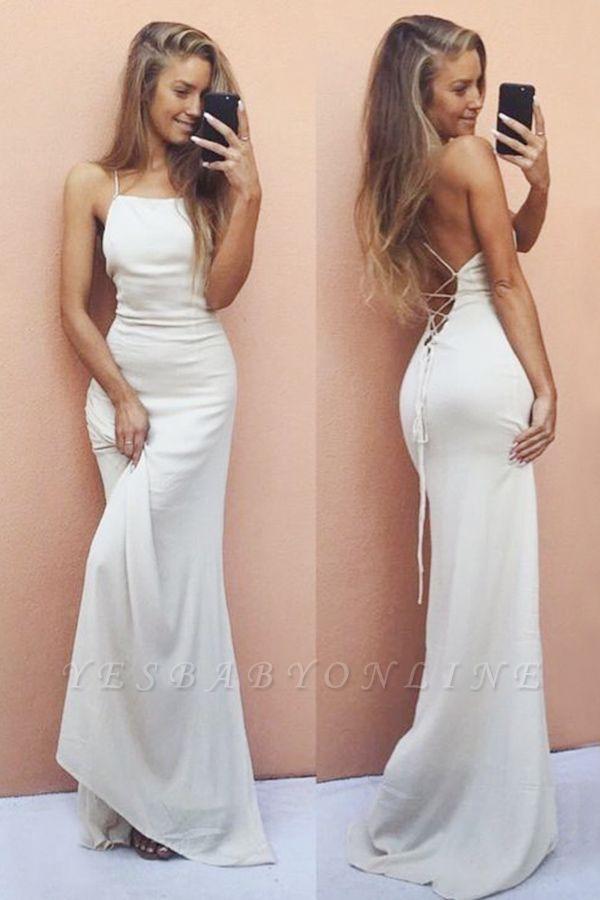 Backless Mermaid Sleeveless White Spaghetti-Strap Sexy Prom Dress