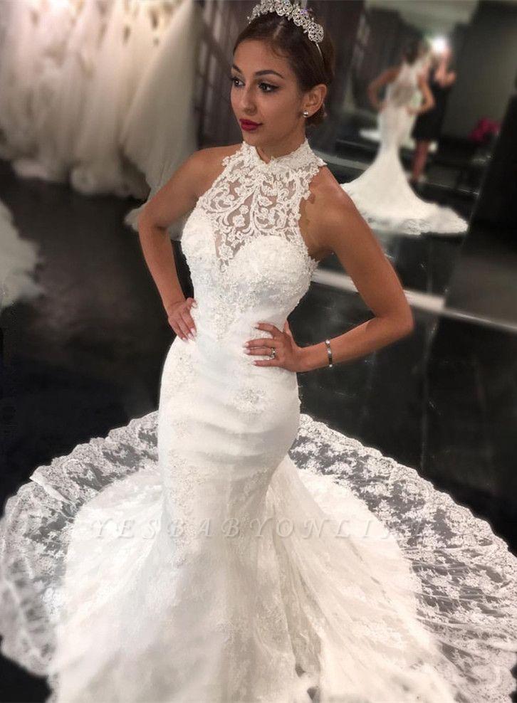 Newest Sweep-Train Mermaid Sleeveless High-Neck Lace Wedding Dress